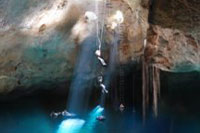 Rappelling into a Cenote in Cozumel